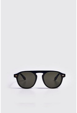 Mens Black Gold Trim Sunglasses