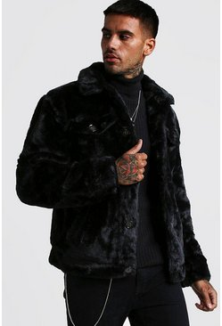 Mens Black Faux Fur Trucker Jacket