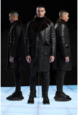 Black Premium Longline Faux Fur Lined Aviator