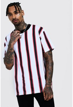 Mens White Loose Fit Stripe Tee With Extended Neck