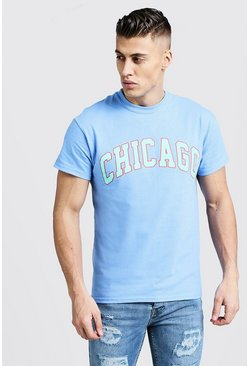 Mens Blue T-Shirt With Chicago Varsity Print