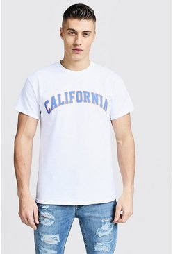 Mens White T-Shirt With California Varsity Print