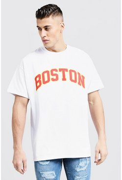 Oversized T-Shirt mit Boston-Print, Weiß, Herren