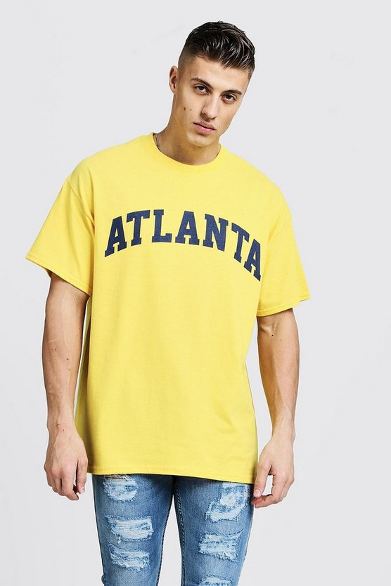 Mens Yellow Oversized T-Shirt With Atlanta Print