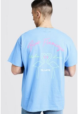 Mens Neon Blue Flamingo Print Oversized Tee