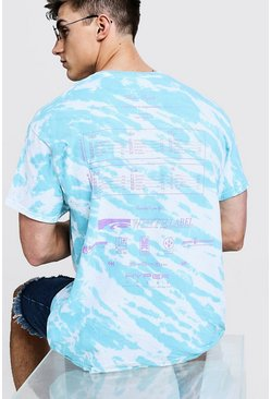 Mens White Loose Fit Tie Dye T-Shirt With Back Print