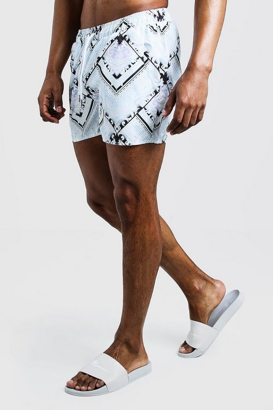 Mens White Baroque Tile Swim Short In Mid Length