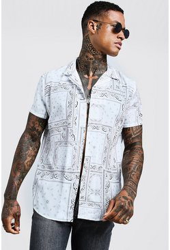 Mens White Bandana Print Short Sleeve Revere Shirt
