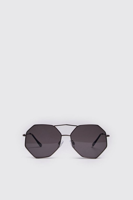 Mens Black Hexagon Aviator Sunglasses