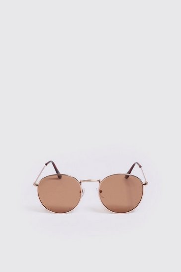 Mens Brown Mirror Lens Round Sunglasses