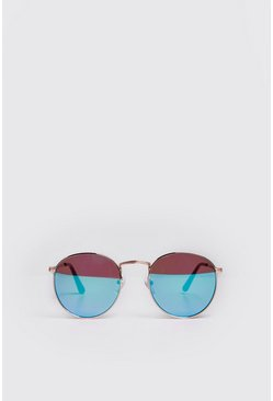Mens Light blue Mirror Lens Round Sunglasses