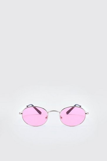 Mens Pink Mirror Lens Oval Sunglasses