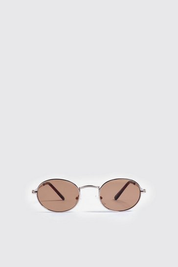 Mens Brown Mirror Lens Oval Sunglasses