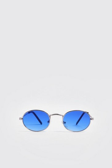 Mens Blue Mirror Lens Oval Sunglasses
