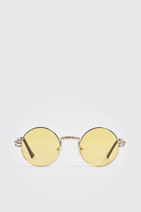 Mens Yellow Arm Detail Vintage Sunglasses