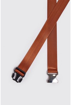 Herr Tan Silver Buckle Tape Belt