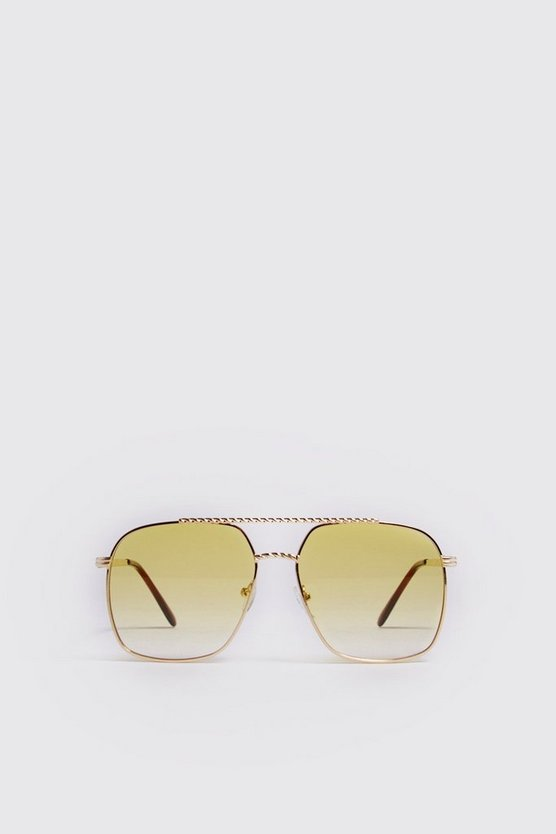 Mens Yellow Vintage Frame Aviator