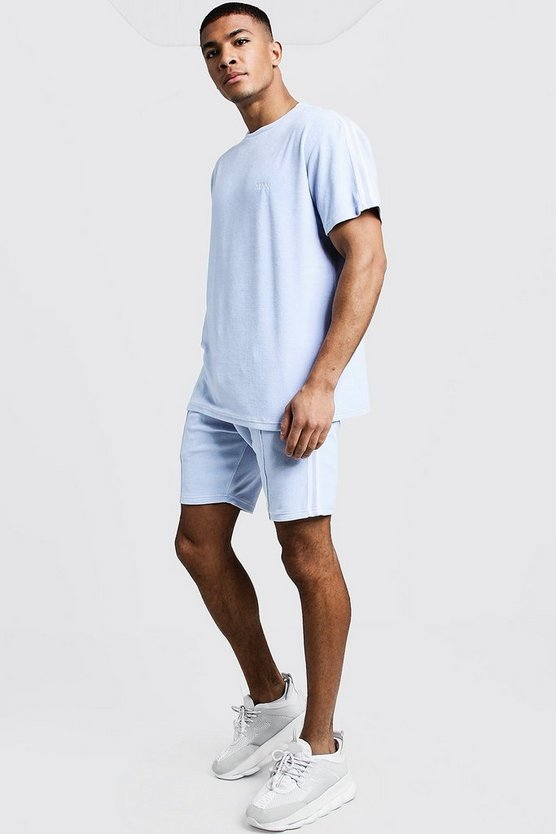 Mens Blue Velour MAN T-Shirt & Short Set With Tape