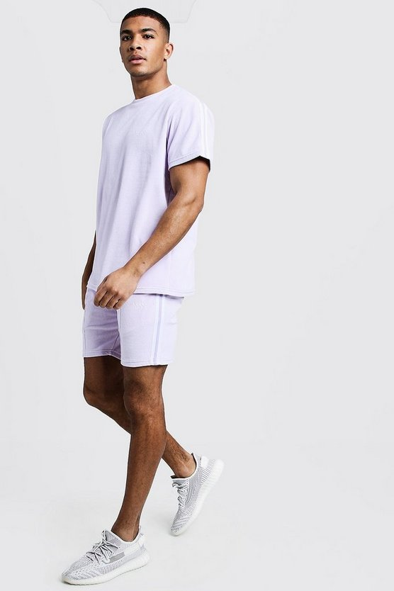 Mens Lilac Velour MAN T-Shirt & Short Set With Tape
