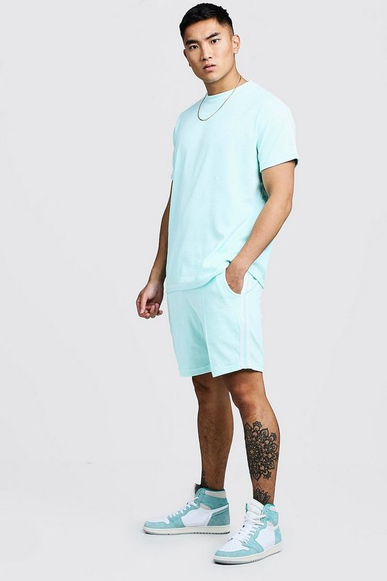 Mens Aqua Velour MAN T-Shirt & Short Set With Tape