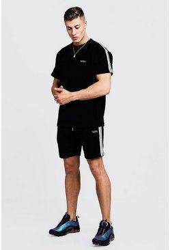 Mens Black Velour MAN T-Shirt & Short Set With Tape