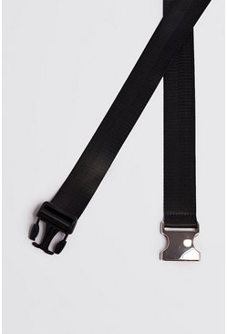 Black Silver Buckle Tape Belt