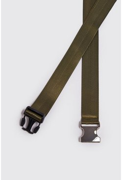 Mens Khaki Silver Buckle Tape Belt