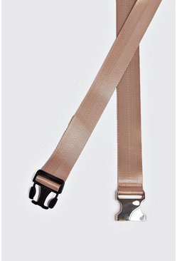 Herr Nude Silver Buckle Tape Belt