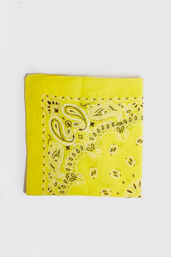 Mens Yellow Printed Bandana