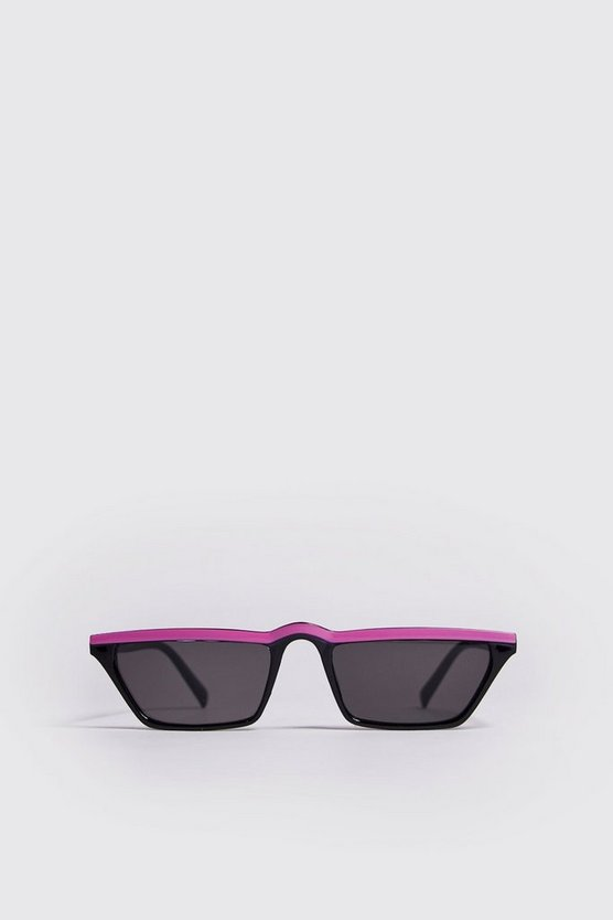 Mens Neon-pink Colour Stripe Micro Sunglasses