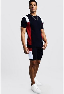 Mens Navy Knitted Colour Block T-Shirt & Short Set