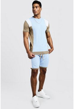 Mens Powder blue Knitted Colour Block T-Shirt & Short Set