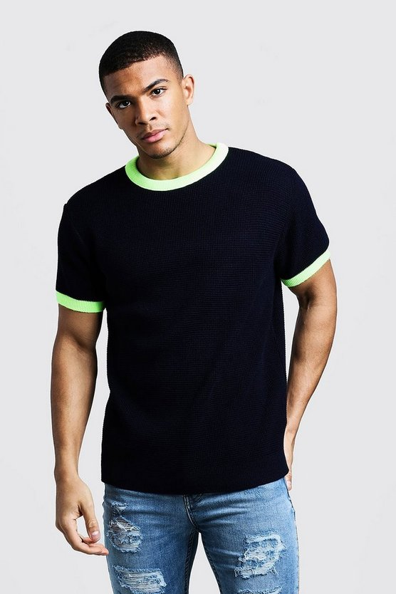 Navy Knitted T-Shirt With Neon Rib