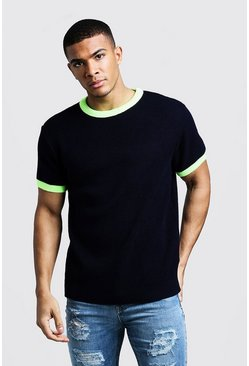 Mens Navy Knitted T-Shirt With Neon Rib