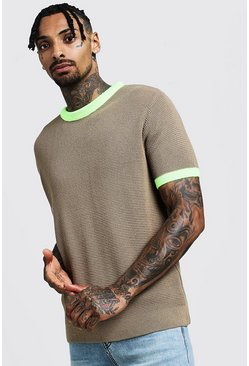 Herr Taupe Knitted T-Shirt With Neon Rib