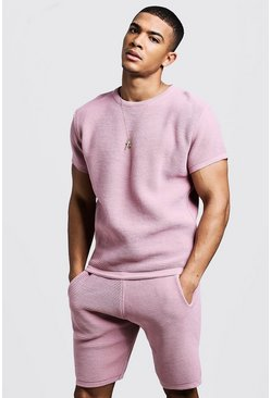 Mens Pink Ottoman Rib Knitted T-Shirt & Short Set