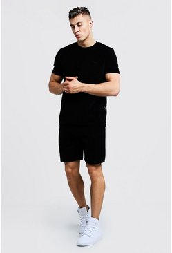 Mens Black MAN Signature Velour T-Shirt & Short Set With Zips
