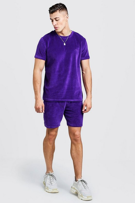 Mens Purple MAN Signature Velour T-Shirt & Short Set With Zips