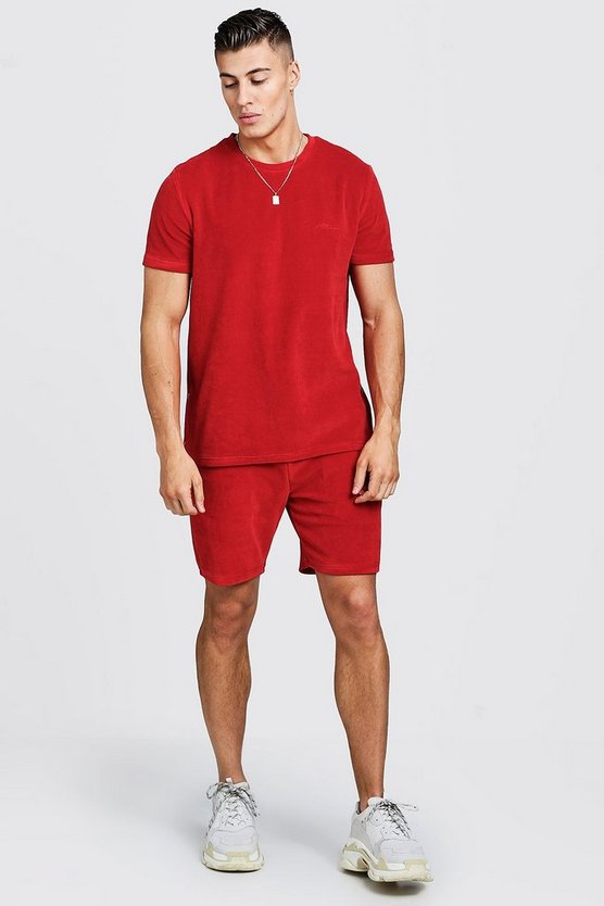 Red MAN Signature Velour T-Shirt & Short Set With Zips