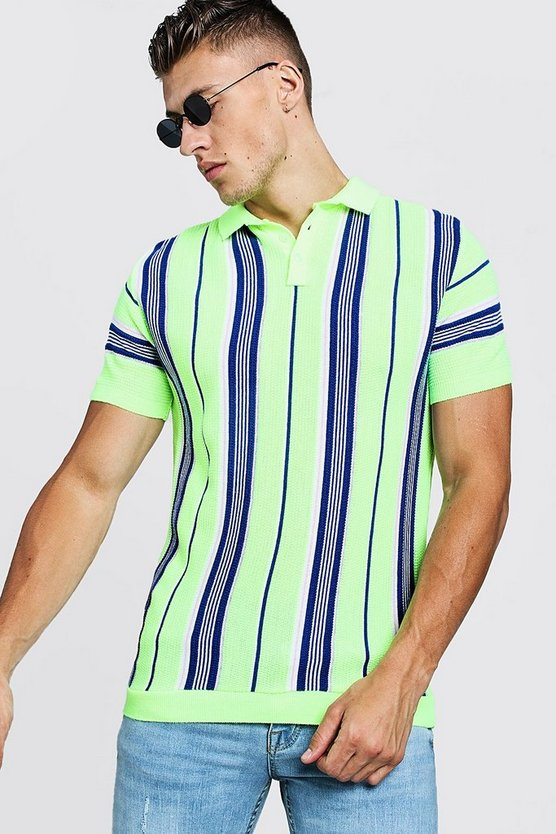 Mens Neon-yellow Knitted Polo With Vertical Stripe