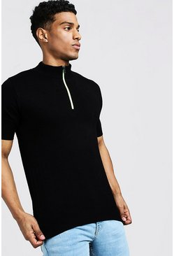 Mens Black Knitted T-Shirt With Neon Zip