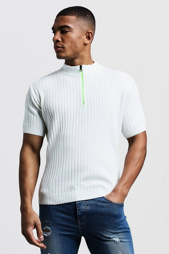 Ivory Ribbed Knitted T-Shirt With Neon Zip