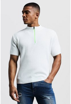 Mens Ivory Ribbed Knitted T-Shirt With Neon Zip