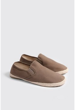 Mens Khaki Jute Detail Canvas Espadrilles