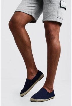 Mens Navy Jute Detail Canvas Espadrilles