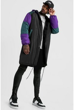 Black Longline Colour Block Back Print Parka