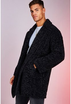 Mens Black Oversized Luxe Faux Fur Overcoat