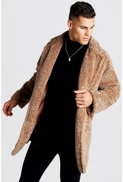 Mens Camel Oversized Luxe Faux Fur Overcoat