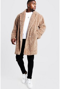 Mens Camel Big & Tall Oversized Luxe Faux Fur Coat