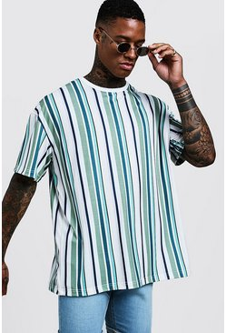 Herr Green Oversized T-Shirt In Vertical Stripe